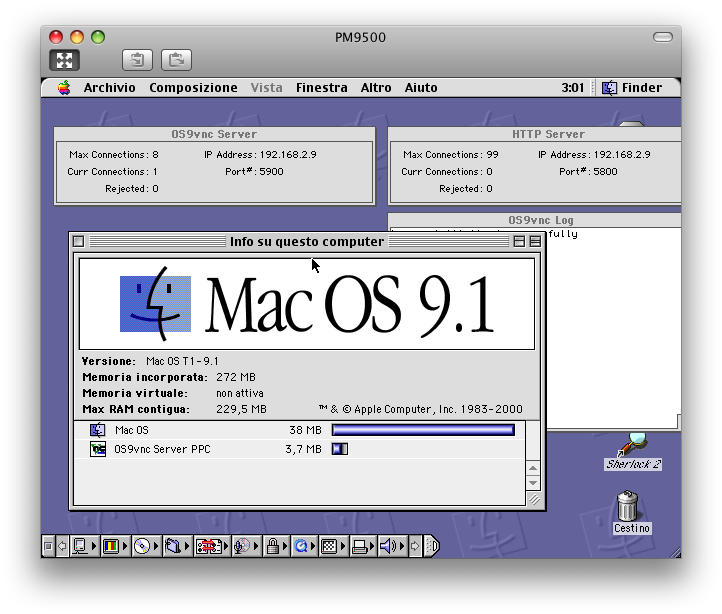PowerMac 9500 controlled by the PowerBook G4