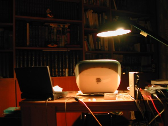 iBook and PowerBook at night